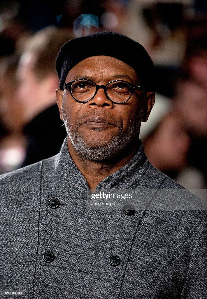 <<Samuel L Jackson attends the UK Premiere of 'Django Unchained'>> at Empire Leicester Square on January 10, 2013 in London, England.