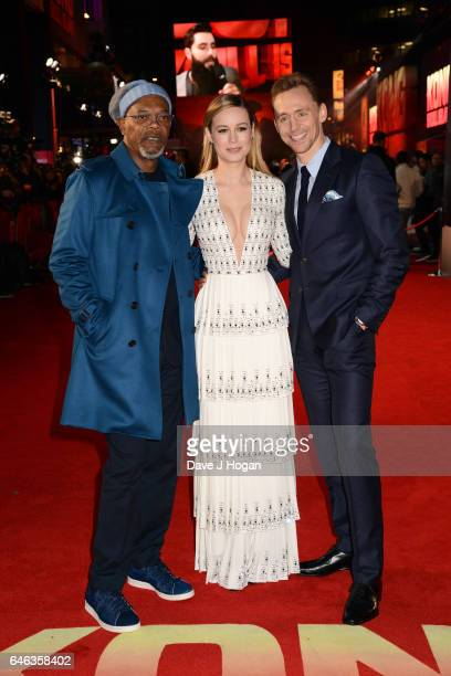 Samuel L Jackson Brie Larson and Tom Hiddleston attend the European premiere of 'Kong Skull Island' on February 28 2017 in London England