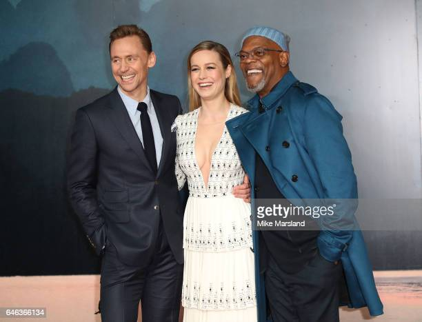 Samuel L Jackson Brie Larson and Tom Hiddleston attend the European premiere Of 'Kong Skull Island' on February 28 2017 in London United Kingdom