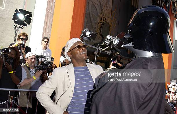 Samuel L Jackson Darth Vader during 'Star Wars Episode II Attack of the Clones' Charity Premiere Los Angeles at Grauman's Chinese Theater in...