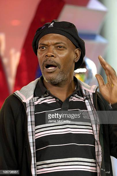 Samuel L Jackson during Samuel L Jackson and Eugene Levy Visit MTV's 'TRL' September 7 2005 at TRL Studios in New York City New York United States