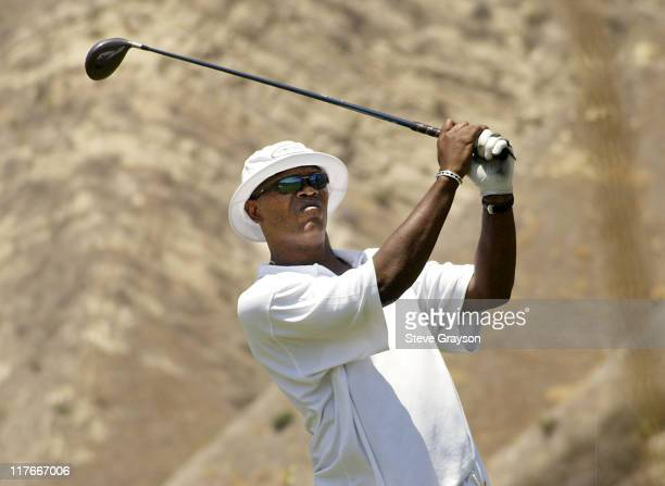 Samuel L Jackson during The 2002 ESPY Awards Celebrity Golf Classic at Lost Canyon Golf Club in Simi Valley California United States