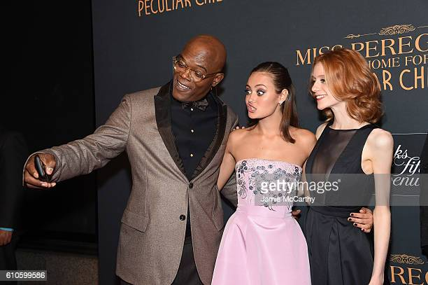 Samuel L Jackson Ella Purnell and Lauren McCrostie attend the 'Miss Peregrine's Home For Peculiar Children' premiere at Saks Fifth Avenue on...