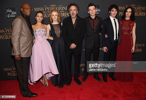 Samuel L Jackson Ella Purnell Lauren McCrostie Tim Burton Asa Butterfield Finlay MacMillan and Eva Green attend the 'Miss Peregrine's Home For...