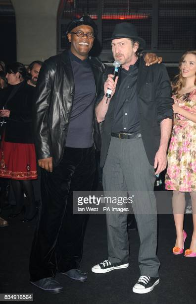 Samuel L Jackson Frank Miller and Scarlett Johansson attend the launch party for Miller's latest film 'The Spirit' at The Old Sorting Office in...