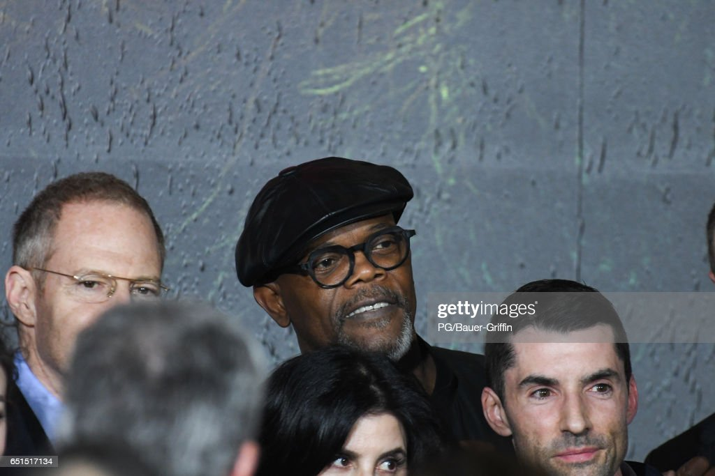 Samuel L. Jackson is seen arriving at the premiere of Kong: Skull Island on March 08, 2017 in Los Angeles, California.