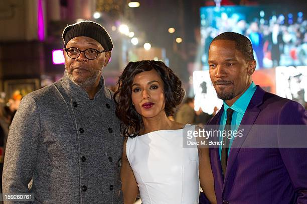 Samuel L Jackson Kerry Washington and Jamie Foxx attend the UK Premiere of 'Django Unchained' at Empire Leicester Square on January 10 2013 in London...