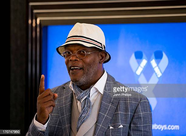 Samuel L Jackson launches 'One For The Boys' a Male Cancer awareness campaign at The Palace in the Park on June 17 2013 in London England
