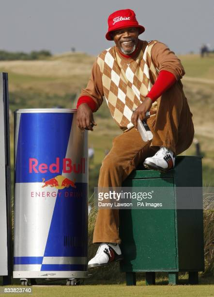 Samuel L Jackson on the 8th during the Alfred Dunhill Links Championship at Kingsbarns Fife Scotland