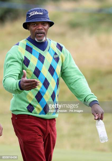 Samuel L Jackson on the first day during the Alfred Dunhill Links Championship at Carnoustie Scotland