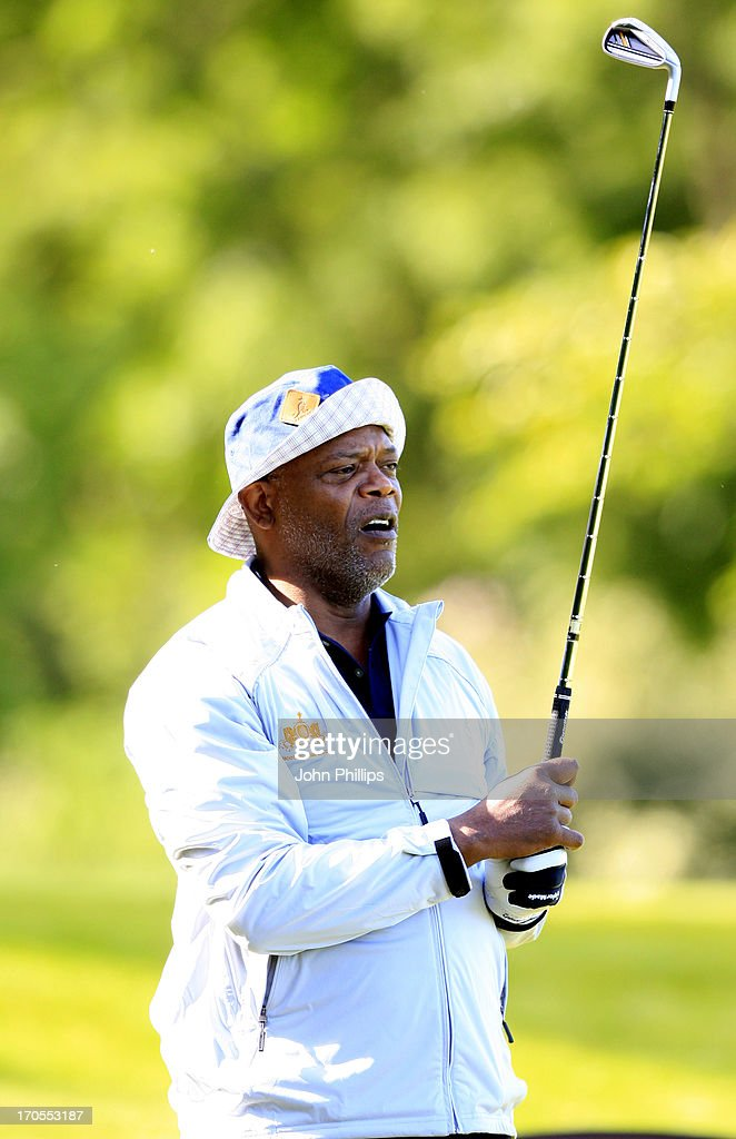 <a gi-track='captionPersonalityLinkClicked' href=/galleries/search?phrase=Samuel+L.+Jackson&family=editorial&specificpeople=167234 ng-click='$event.stopPropagation()'>Samuel L. Jackson</a> plays a tee shot during the Affinity Real Estate Shooting Stars First Round at The Grove Hotel on June 14, 2013 in Hertford, England.