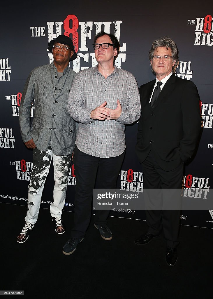 Samuel L. Jackson, Quentin Tarantino and Kurt Russell arrive ahead of the Australian premiere of The Hateful Eight at Event Cinemas George Street on January 13, 2016 in Sydney, Australia.