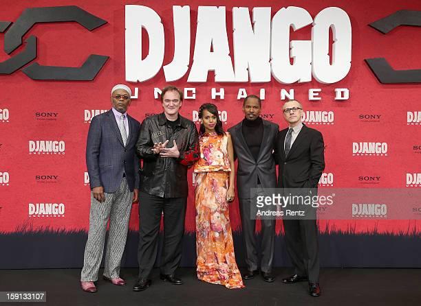 Samuel L Jackson Quentin Tarantino Kerry Washington Jamie Foxx and Christoph Waltz attend 'Django Unchained' Berlin Premiere at Cinestar Potsdamer...
