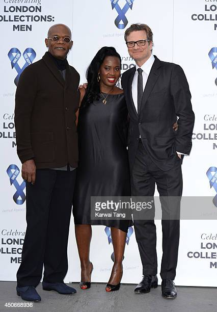 Samuel L Jackson Sofia Davis and Colin Firth attend the One For The Boys charity ball during the London Collections Men SS15 on June 15 2014 in...