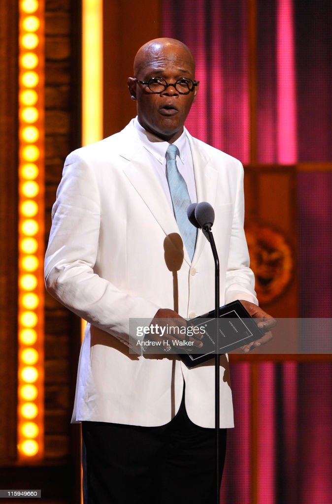 Samuel L. Jackson speaks on stage during the 65th Annual Tony Awards at the Beacon Theatre on June 12, 2011 in New York City.
