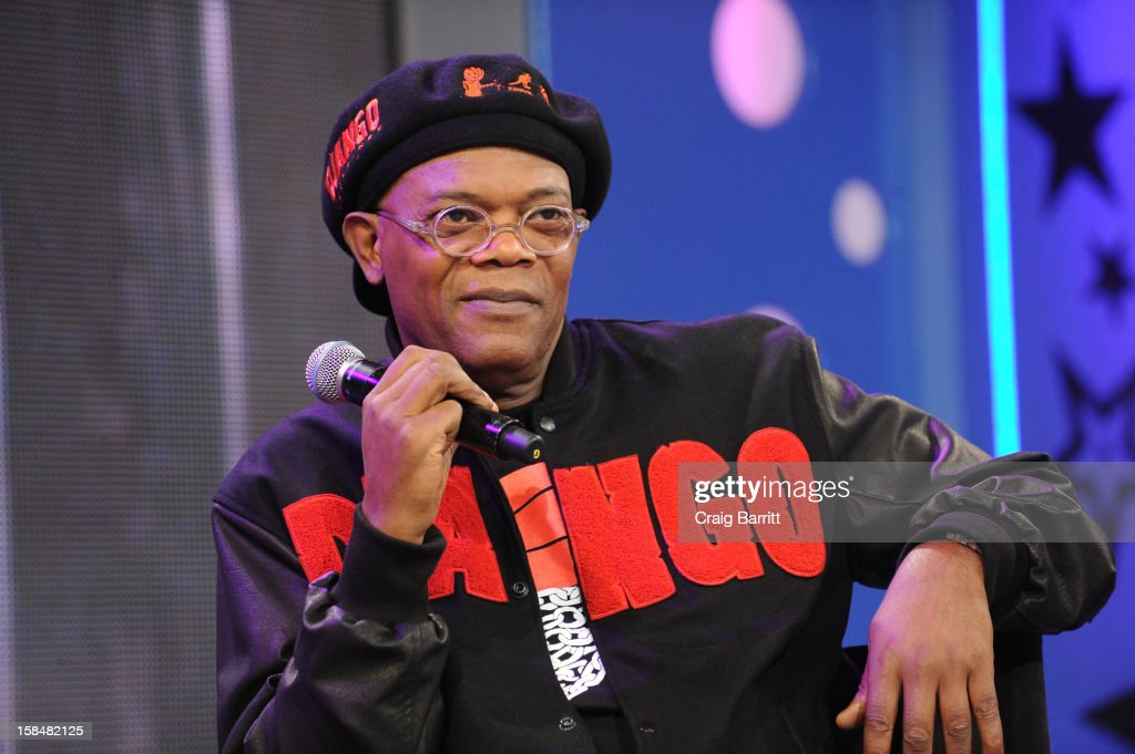 Samuel L Jackson visit BET's '106 & Park' at 106 & Park Studio on December 14, 2012 in New York City.