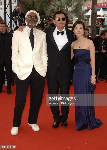 Samuel L Jackson Wong Kar Wai and Zhang Ziyi arrive for the premiere of Transylvania the closing film at the 59th Cannes Film Festival at the Palais...