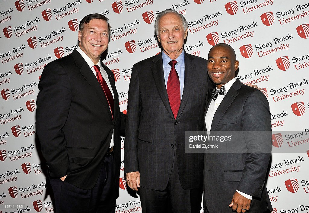 Samuel L. Stanley Jr(L), Alan Alda(C) attend the 2013 Stars Of Stony Brook Gala at Pier 60 on April 24, 2013 in New York City.