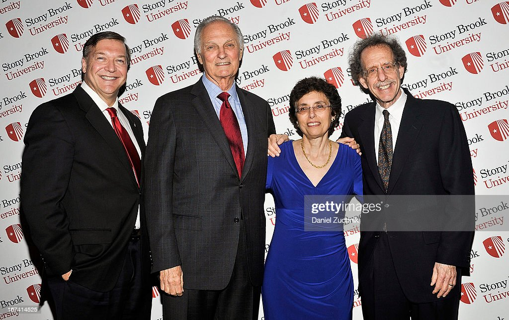 Samuel L. Stanley Jr., Alan Alda, Elizabeth Bass and Howard Schneider attend the 2013 Stars Of Stony Brook Gala at Pier 60 on April 24, 2013 in New York City.