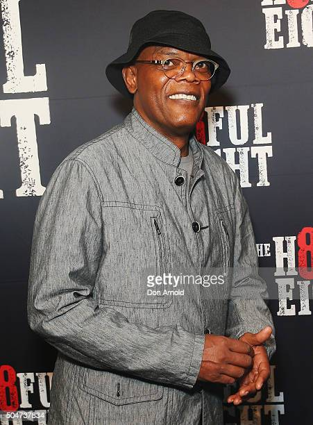 Samuel LJackson arrives ahead of the Australian premiere of The Hateful Eight at Event Cinemas George Street on January 13 2016 in Sydney Australia