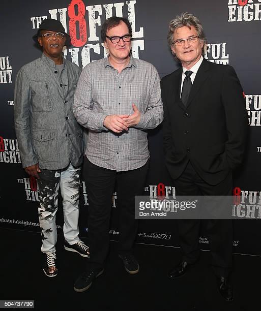 Samuel LJackson Quentin Tarantino and Kurt Russell arrives ahead of the Australian premiere of The Hateful Eight at Event Cinemas George Street on...
