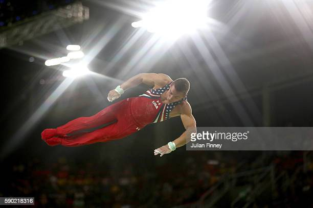 Samuel Mikulak of the United States competes on the Horizontal Bar Final on Day 11 of the Rio 2016 Olympic Games at the Rio Olympic Arena on August...