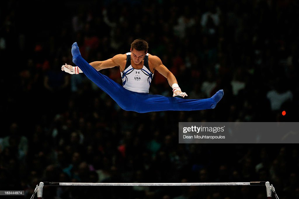 <a gi-track='captionPersonalityLinkClicked' href=/galleries/search?phrase=Samuel+Mikulak&family=editorial&specificpeople=9595196 ng-click='$event.stopPropagation()'>Samuel Mikulak</a> of USA competes during the Horizontal Bar Final on Day Seven of the Artistic Gymnastics World Championships Belgium 2013 held at the Antwerp Sports Palace on October 6, 2013 in Antwerpen, Belgium.