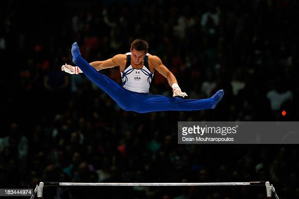 Samuel Mikulak of USA competes during the Horizontal Bar Final on Day Seven of the Artistic Gymnastics World Championships Belgium 2013 held at the...