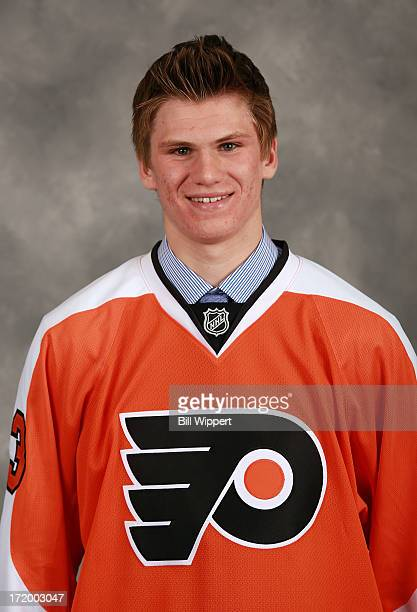 Samuel Morin 11th overall pick by the Philadelphia Flyers poses for a portrait during the 2013 NHL Draft at Prudential Center on June 30 2013 in...