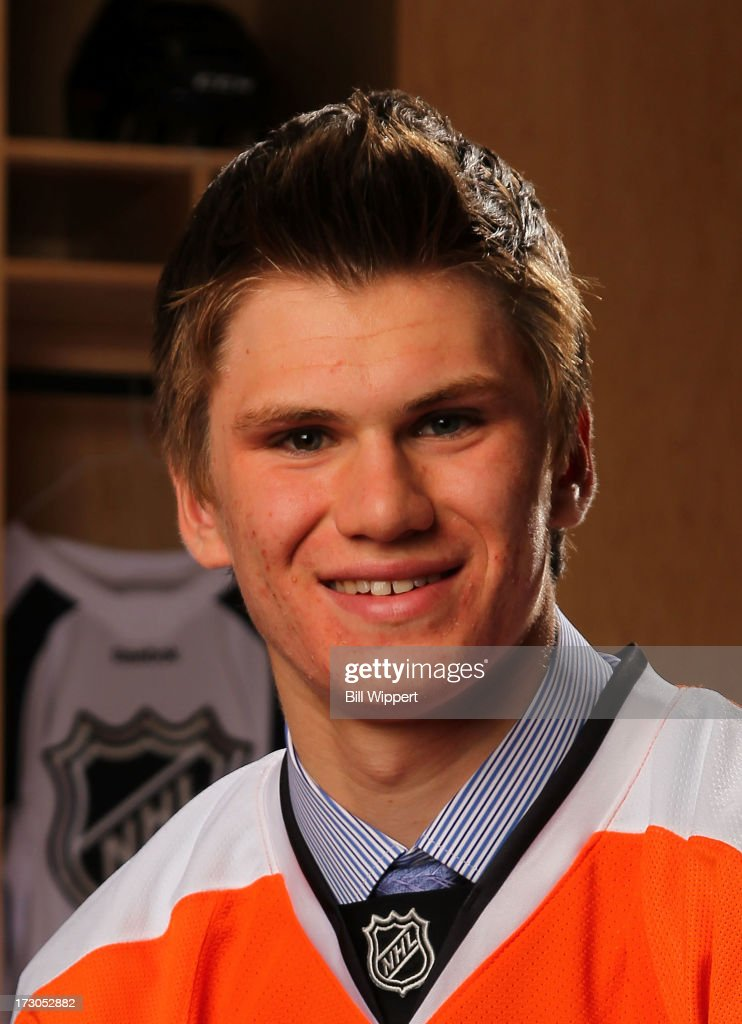 Samuel Morin 11th pick overall by the Philadelphia Flyers poses for a portrait during the 2013 NHL Draft at Prudential Center on June 30 2013 in...