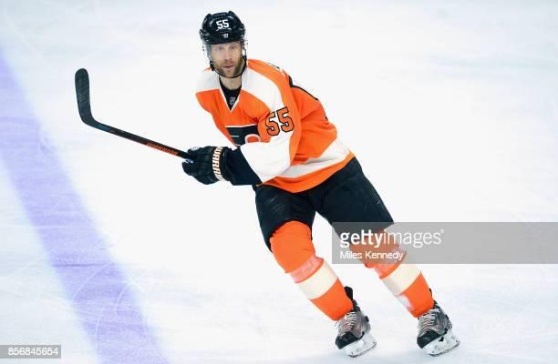 Samuel Morin of the Philadelphia Flyers plays in the game against the New York Islanders at Wells Fargo Center on April 7 2015 in Philadelphia...