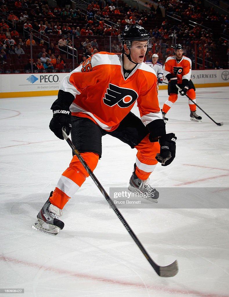 Samuel Morin of the Philadelphia Flyers skates against the New York Rangers during a preseason game at the Wells Fargo Center on September 17 2013 in...
