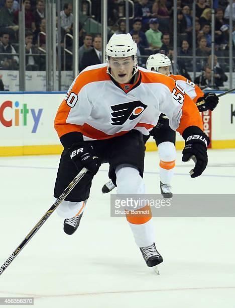 Samuel Morin of the Philadelphia Flyers skates against the New York Rangers at Madison Square Garden on September 29 2014 in New York City The...
