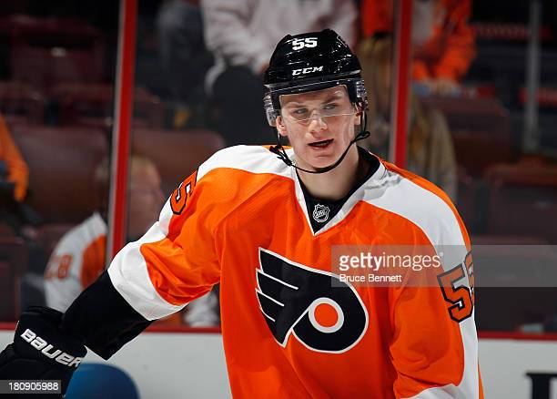 Samuel Morin of the Philadelphia Flyers skates in warmups prior to playing against the New York Rangers in a preseason game at the Wells Fargo Center...