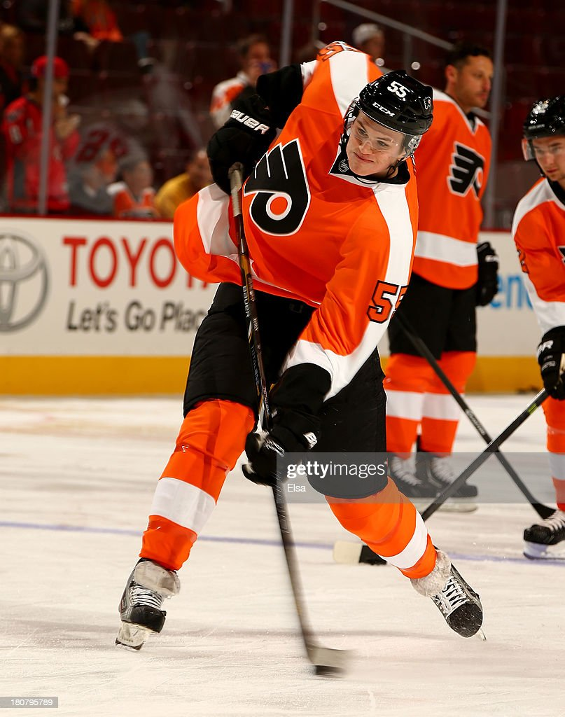 Samuel Morin of the Philadelphia Flyers warms up before the game against the Washington Capitals at Wells Fargo Center on September 16 2013 in...