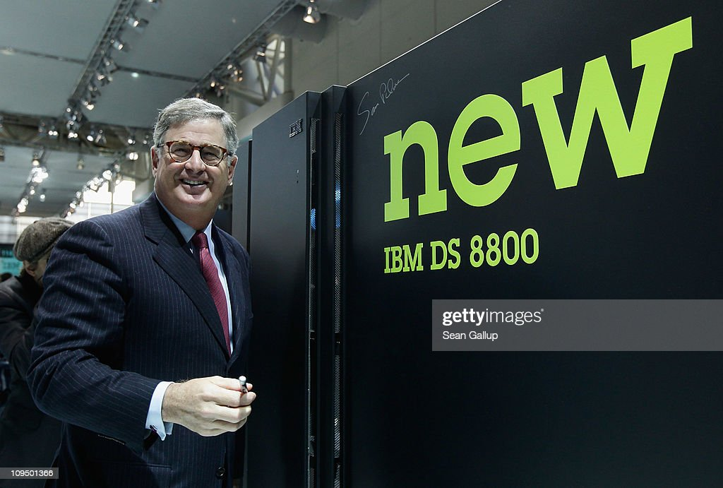 Samuel Palmisano, President and CEO of IBM, signs his autograph onto a high-capacity IBM storage server at the IBM stand at the CeBIT technology trade fair on February 28, 2011 in Hanover, Germany. CeBIT 2011 will be open to the public from March 1-5.