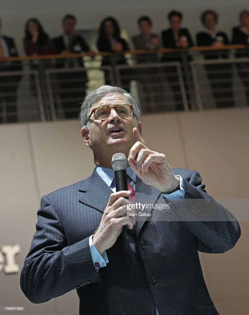 Samuel Palmisano, President and CEO of IBM, speaks to IBM employees at the IBM stand at the CeBIT technology trade fair on February 28, 2011 in Hanover, Germany. CeBIT 2011 will be open to the public from March 1-5.