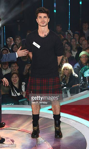 Samuel Robertson enters the Celebrity Big Brother House at Elstree Studios on January 3 2013 in Borehamwood England