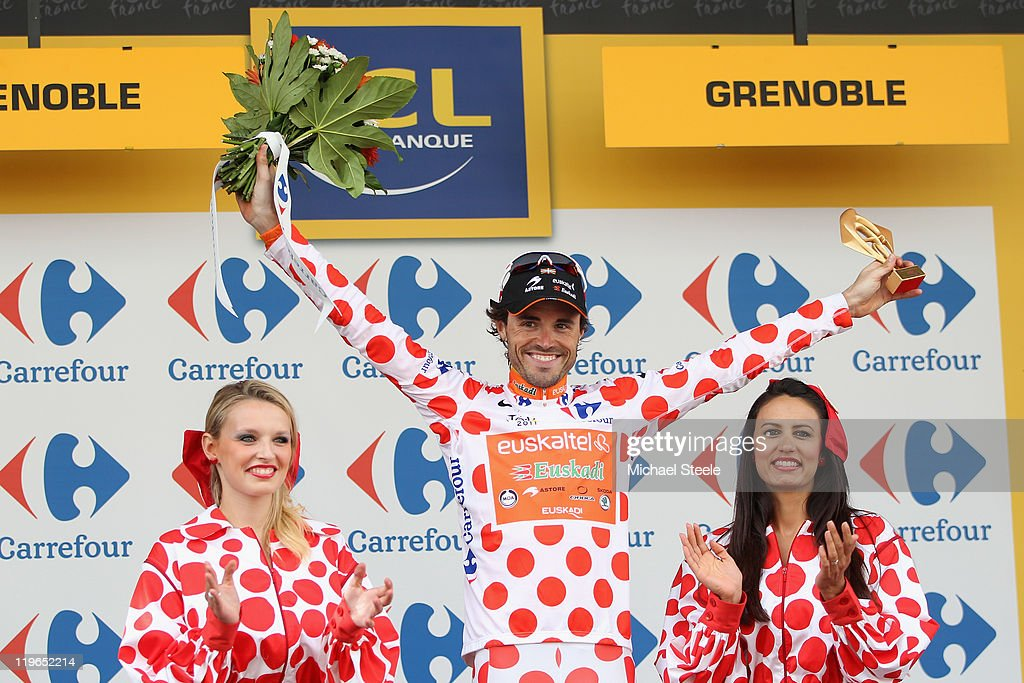 Samuel Sanchez of Spain and Team EuskaltelEuskadi retains theKing of the Mountains jersey after the Individual Time Trial Stage 20 of the 2011 Tour...