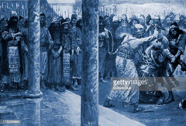 Samuel slays Agag by J James Tissot After destroying the Amalekites Samuel killed their king Agag Illustration to book of Samuel 933 'And Samuel said...