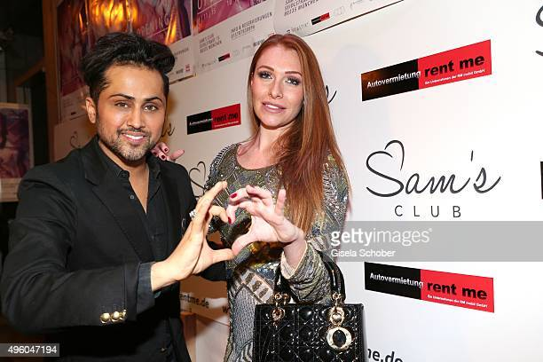 Samuel Sohebi and Georgina Buelowius during the opening of the night club Sam's on November 6 2015 in Munich Germany