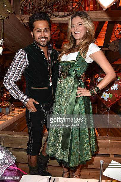 Samuel Sohebi and Natalie Lefevre in the Kaeferschaenke beer tent during the Oktoberfest at Theresienwiese on September 23 2016 in Munich Germany