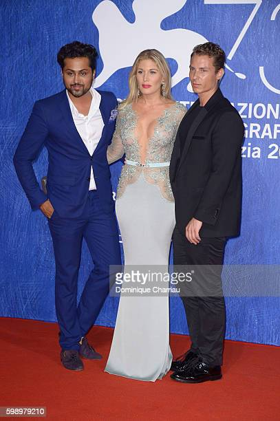 Samuel Sohebi Hofit Golan and Matteo Puppi attend the premiere of 'In Dubious Battle' during the 73rd Venice Film Festival at Sala Giardino on...