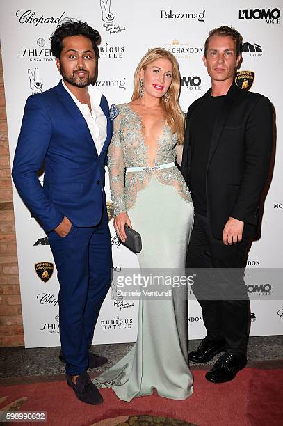 Samuel Sohebi Hofit Golan and Matteo Puppi attend 'The Starry Late Party' Hosted By L'Uomo Vogue and Lamborghini during the 73rd Venice Film Festival...