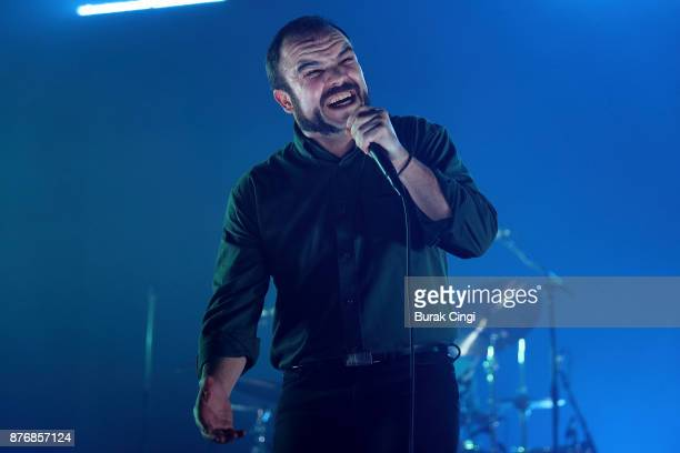 Samuel T Herring of Future Islands performs at O2 Academy Brixton on November 20 2017 in London England