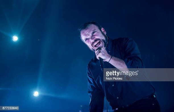 Samuel T Herring of Future Islands performs at O2 Academy Brixton on November 21 2017 in London England