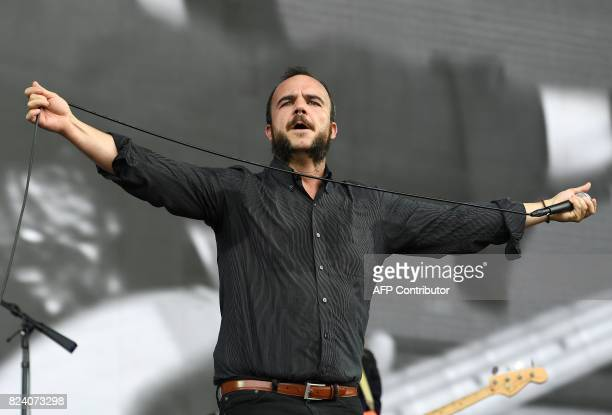 Samuel T Herring of Future Islands performs at the 2017 Panorama Music Festival on Randall's Island in New York on July 28 2017 / AFP PHOTO / ANGELA...