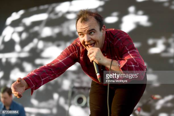 Samuel T Herring of Future Islands performs at the Outdoor Theatre during day 3 of the Coachella Valley Music And Arts Festival at the Empire Polo...