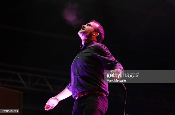 Samuel T Herring of Future Islands performs during Splendour in the Grass 2017 on July 22 2017 in Byron Bay Australia