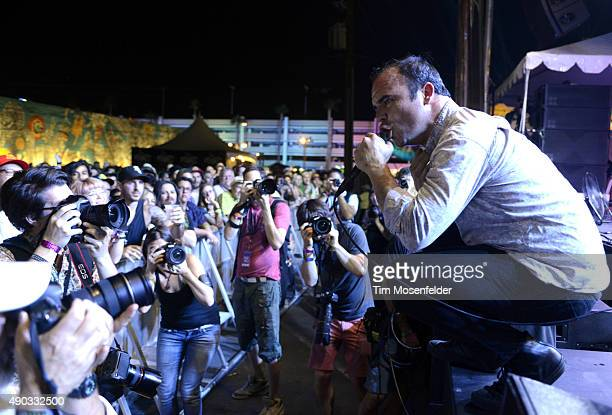 Samuel T Herring of Future Islands performs during the 2015 Life is Beautiful festival on September 26 2015 in Las Vegas Nevada